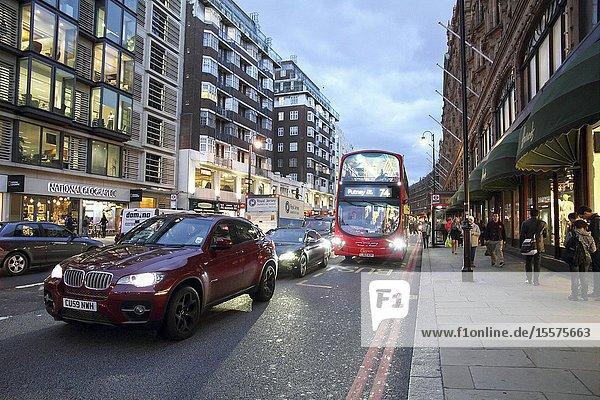 Brompton road at night London UK.