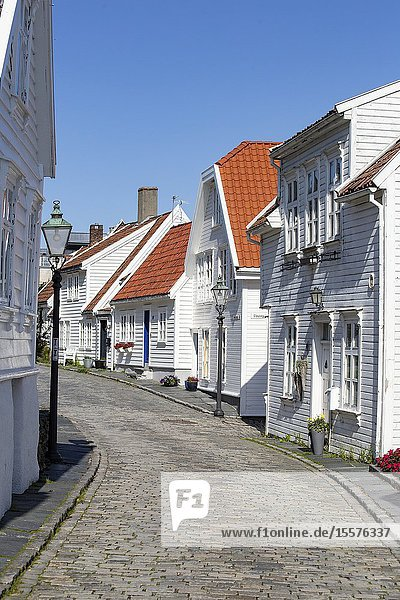 Old Stavanger town in Norway September 2018  Traditional white houses close-up.