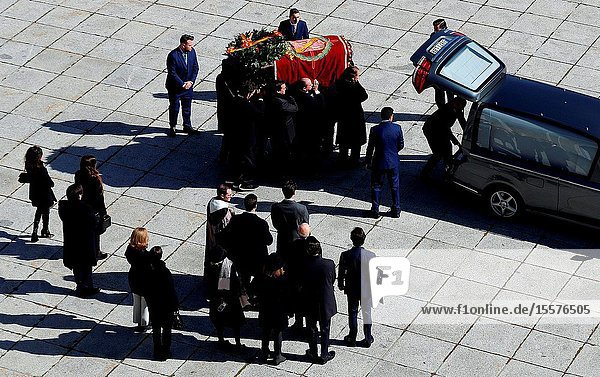 The family of Dictator attends to the Exhumation of the body of Francisco Franco at Catholic Basilica of the Valley of the Fallen on October 24  2019 in San Lorenzo de El Escoria  Spain.The body of dictator Gen. Francisco Franco has been exhumed from the grandiose mausoleum at the Valley of the Fallen before being transferred to cemeteryof Mingorrubio in a Pantheon next to the mortal remains of his wife  Carmen Polo.