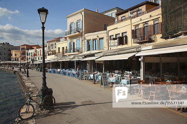 View to the traditional houses by the sea at the harbor  Chania  Crete  Greek Islands  Greece  Europe