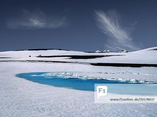 Blue pools of melting water  Kisubotnar  near Hofsjokull Ice Cap  Iceland.