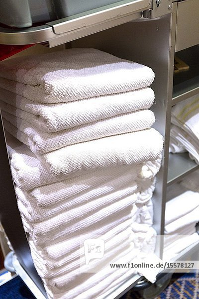 Clean towels for Passenger cabins. Cunard ship. Queen Mary 2. QM2.