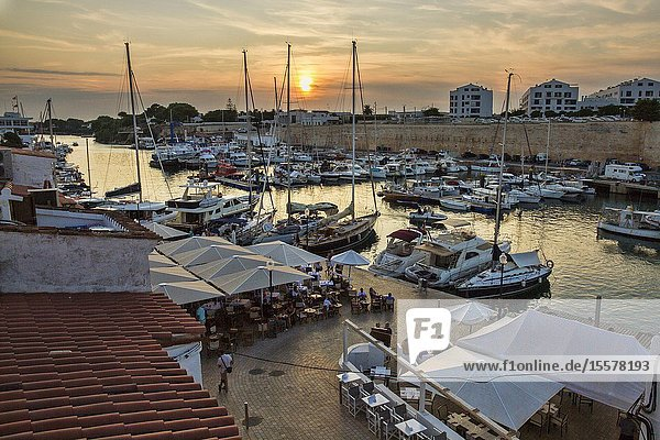 Sunset in Ciutadella's port (Menorca  Baleares - Spain). The second city of menorca.