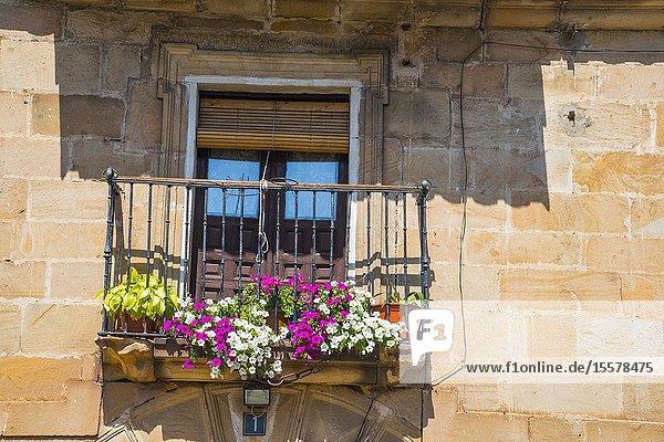 Balcony. Molinos de Duero  Soria province  Castilla Leon  Spain.