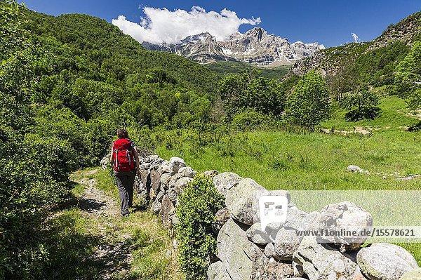 Woman hiking in Panticosa  Tena Valley  Partacua Mountain Range  Pyrenees (Huesca province  Aragón  Spain)