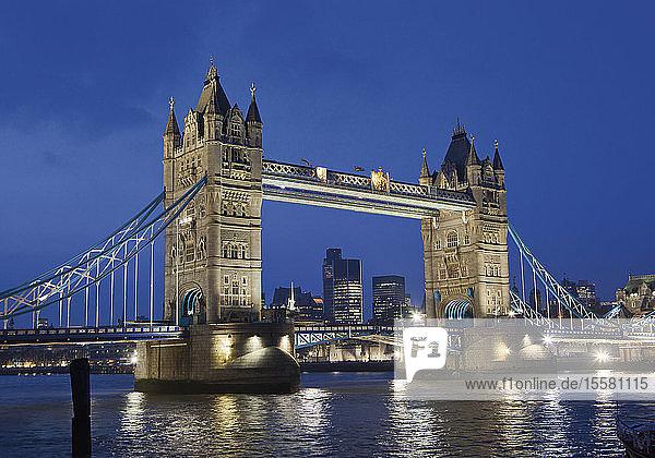 United Kingdom  London  View of Tower Bridge at night