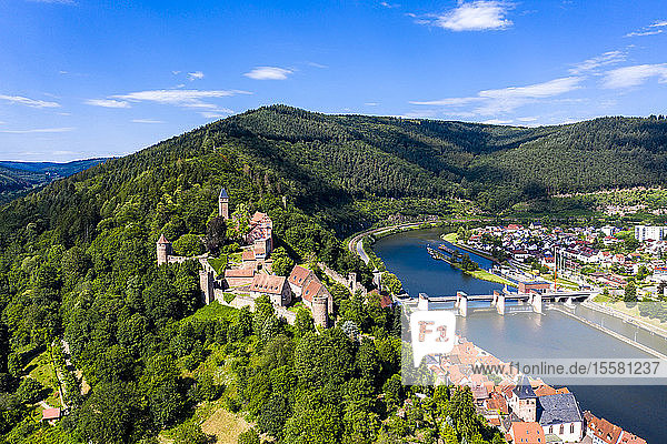 Aerial view of Zwingenberg Castle on mountain by Neckar River  Hesse  Germany