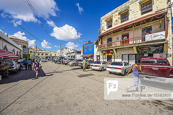 Caribbean  Antilles  Lesser Antilles  Barbados  Bridgetown  street and houses