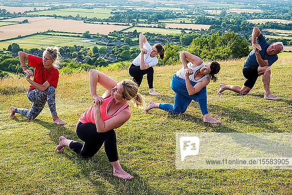 Gruppe von Frauen und Männern  die an einer Yogastunde an einem Berghang teilnahmen.