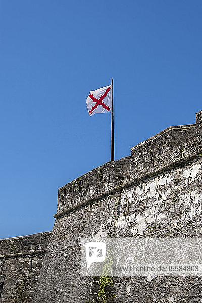 Cross of Burgundy flag on Castillo de San Marcos in St. Augustine  USA