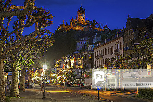 Street below Cochem Imperial Castle at sunset in Cochem  Germany