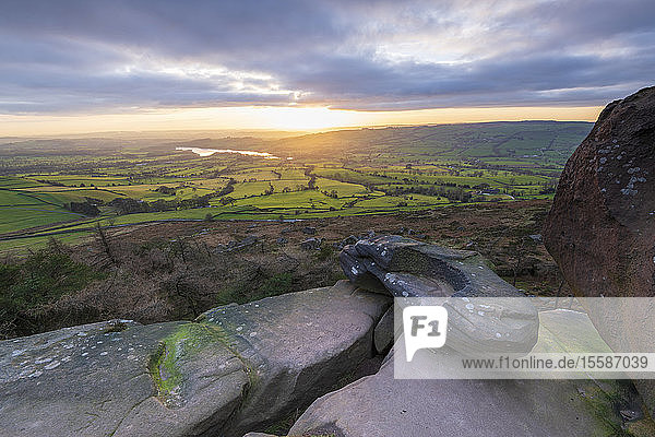 Sunset over Tittersworth Reservoir at The Roaches  Peak District National Park  Staffordshire  England  United Kingdom