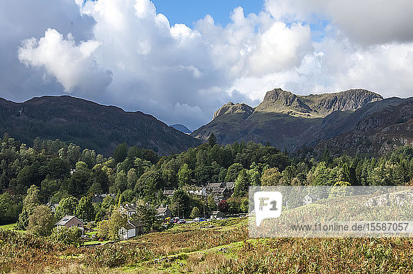 Langdale Pikes  Elterwater Village  Lake District National Park  UNESCO World Heritage Site  Cumbria  England  United Kingdom