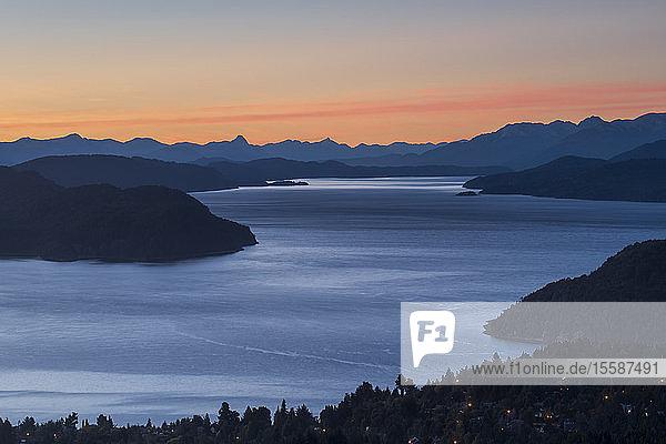 Intense sunset over lake Nahuel Huapi  San Carlos de Bariloche  Patagonia  Argentina  South America