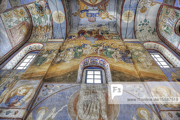 Frescoes  Church of the Nativity of the Virgin dating from 1158  UNESCO World Heritage Site  north of Vladimir  Russia