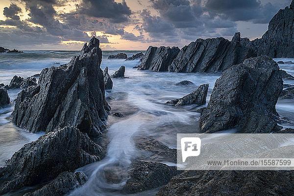 Sunset over the dramatic coast of North Devon  England  United Kingdom