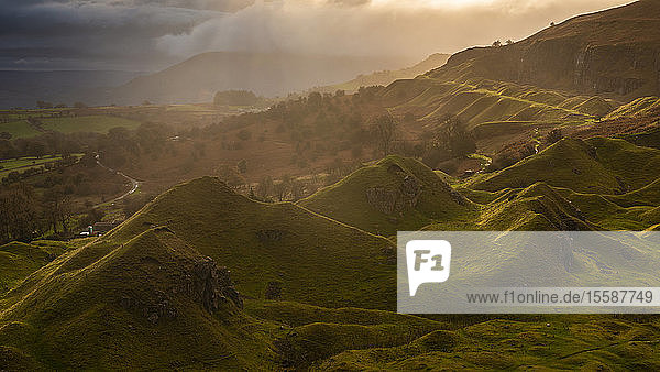 Sunrise over the Llangattock Escarpment in the Brecon Beacons National Park  Powys  Wales  United Kingdom