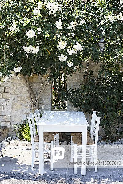 Taverna table and chairs  Gaios  Paxos  Ionian Islands  Greek Islands  Greece