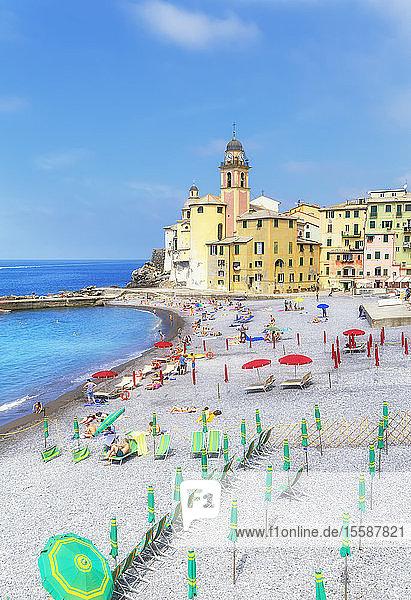 Old church and beach view  Camogli  Riviera di Levante  Liguria  Italy