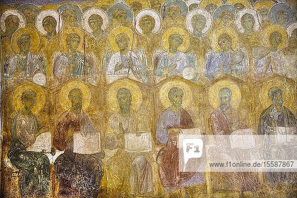 Original frescoes  St. Demetrius Cathedral  built between 1194 and 1197  UNESCO World Heritage Site  Vladimir  Russia