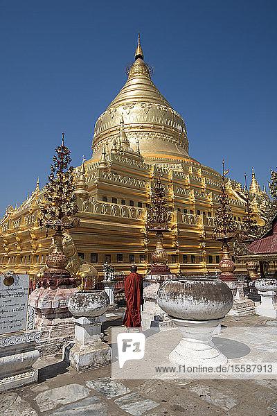 The great Stupa in the Shwezigon Pagoda in Bagan in Myanmar (Burma)