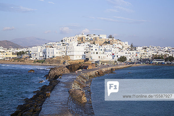 Hora (Old Town) with Causeway to the Temple of Apollo in the foreground  Naxos Island  Cyclades Group  Greek Islands  Greece
