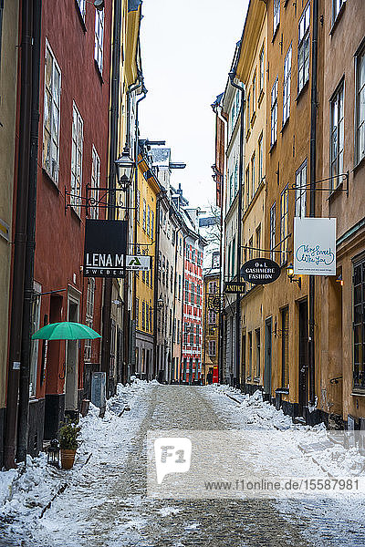 Narrow alley in winter in the old town of Stockholm  Sweden