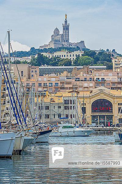 France  Provence-Alpes-Cote d'Azur  Marseille  old harbour  National Theater La Criee and Basilique Notre-Dame de la Garde