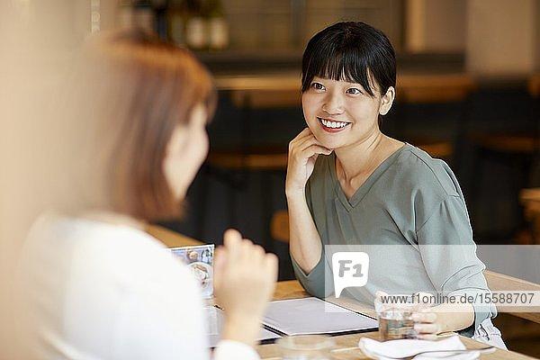 Japanese women at a restaurant