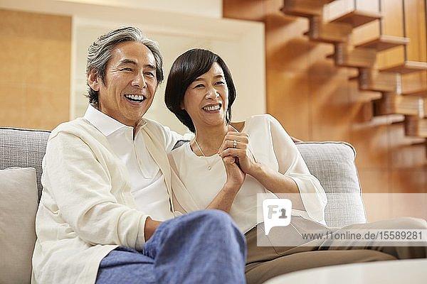 Senior Japanese couple at home