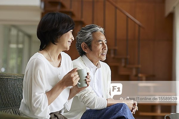 Senior Japanese couple at home
