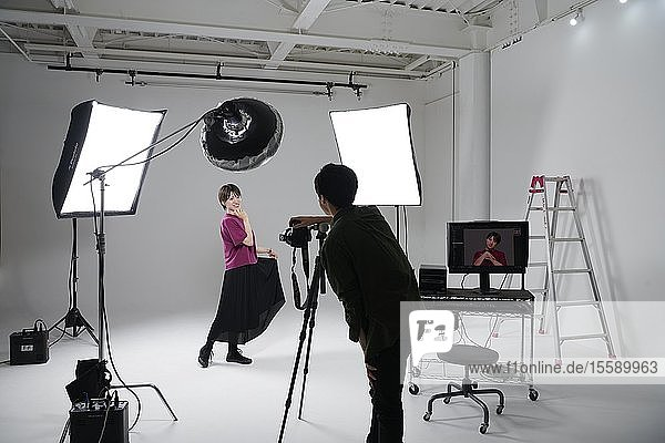 Model photo shoot in a studio