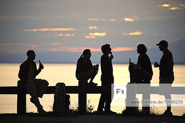 Group Of Friends Watch The Sunset Together At Point Woronzof In Anchorage  Southcentral Alaska  Summer/N