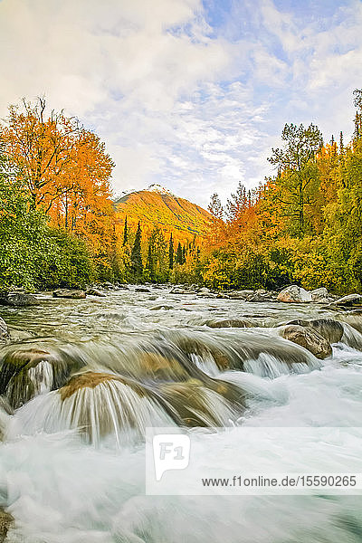 Little Susitna River At The Start Of The Hatchers Pass Road  Southcentral  Alaska  Autumn