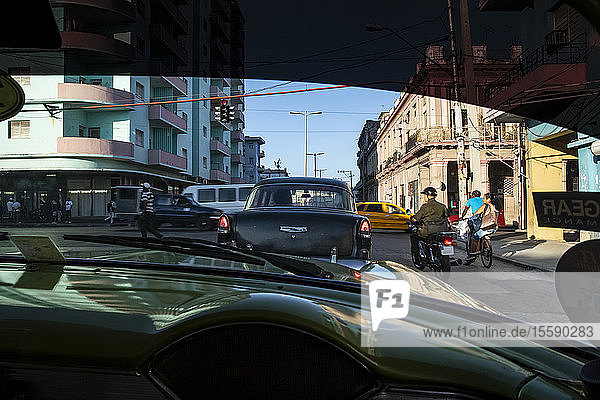 Havana streets through the window of an old taxi; Havana  Cuba