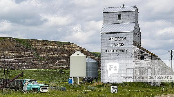 Grain elevator from Andrew Farms  Kirkpatrick  Kneehill County; Alberta  Canada