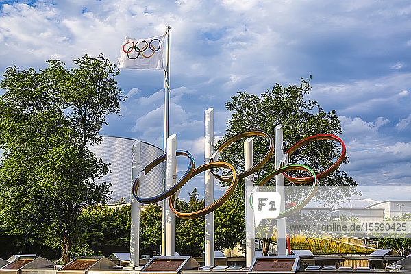 Olympic Rings at Montreal Olympic Stadium; Montreal  Quebec  Canada