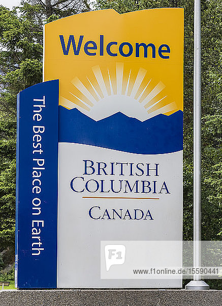 Welcome to British Columbia sign  Mount Robson Provincial Park; British Columbia  Canada