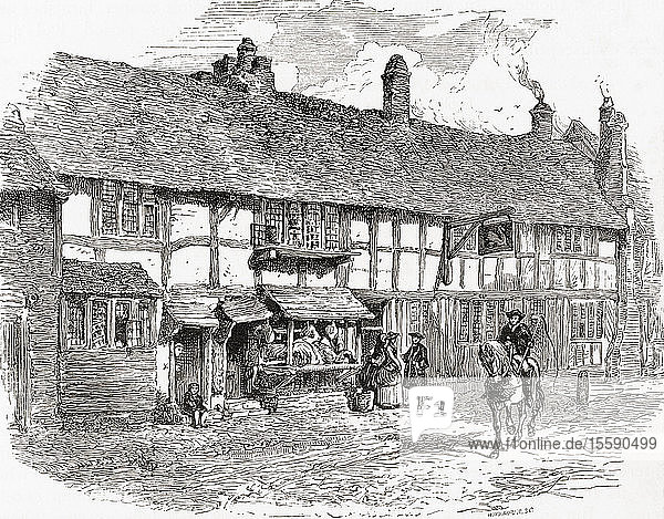 Shakespeare's birthplace  before restoration  Henley Street  Stratford-upon-Avon  Warwickshire  England. From English Pictures  published 1890.