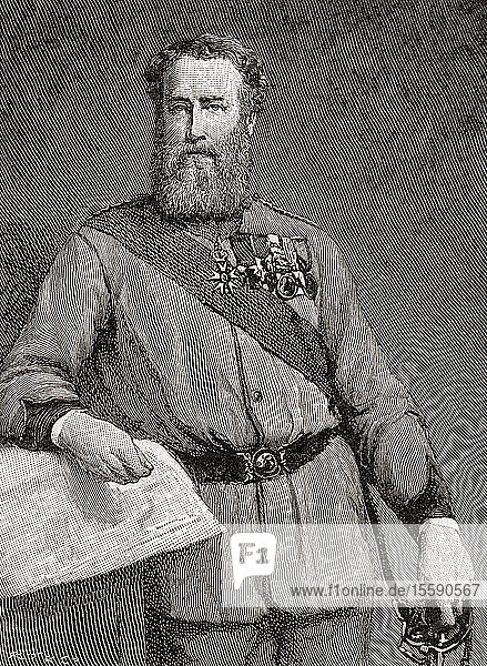 Brigadier General Robert James Loyd-Lindsay,  1st Baron Wantage,  1832 – 1901. British soldier,  politician,  philanthropist,  benefactor to Wantage,  and one of the founders of the British National Society for Aid to the Sick and Wounded in War (later the British Red Cross Society). Seen here aged 50. From The Strand Magazine,  published January to June 1894.