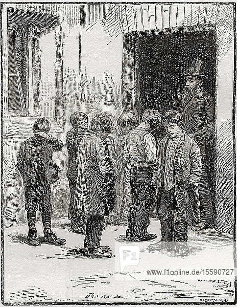 A visit from the school board inspector in Victorian London. From London Pictures  published 1890.
