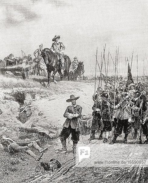 Oliver Cromwell at The Battle of Marston Moor  2 July 1644  during the First English Civil War. Oliver Cromwell  1599 – 1658. English military and political leader and later Lord Protector of the Commonwealth of England  Scotland  and Ireland. From International Library of Famous Literature  published c.1900