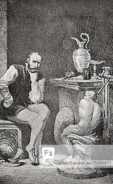 Cellini in his studio. Benvenuto Cellini  1500 – 1571. Italian goldsmith  sculptor  draftsman  soldier  musician  artist and author. From The International Library of Famous Literature  published c. 1900