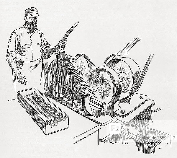 A worker at a coin rimming machine,  the Royal Mint,  London,  England in the 19th century. From London Pictures,  published 1890.
