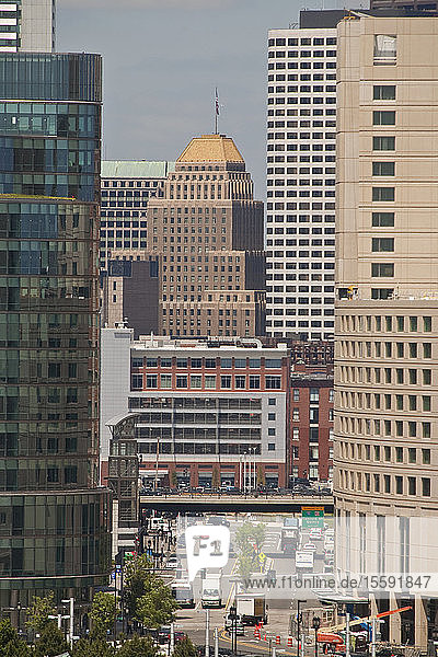 Skyscrapers in a city  Congress Street  Boston  Suffolk County  Massachusetts  USA