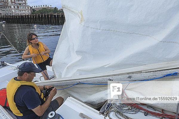 Blind couple on sailing boat
