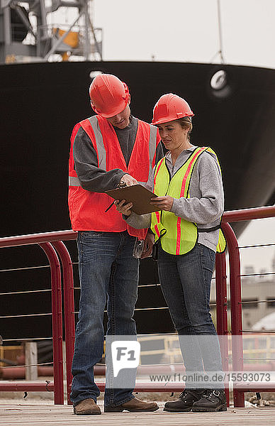 Marine terminal engineers checking documents on a commercial dock