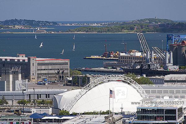 Buildings at a harbor  Boston Harbor  Boston  Massachusetts  USA
