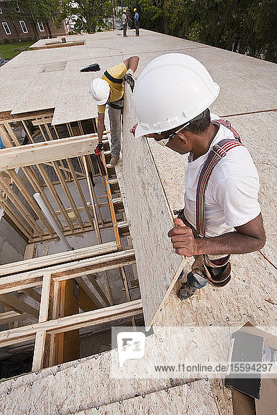 Carpenter putting a particle board in place