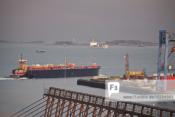 Container ship with cranes at a harbor with Nixes Mate and Boston Lighthouse in the background  Boston Harbor  Boston  Massachusetts  USA